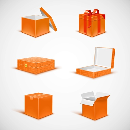 box isolated vector icon set Stock Vector - 14850411