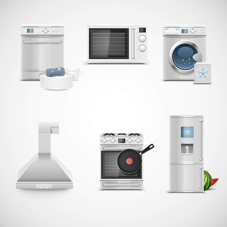 wash dishes: kitchen technique vector icon set