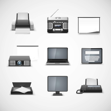 multimedia vector icon set Vector