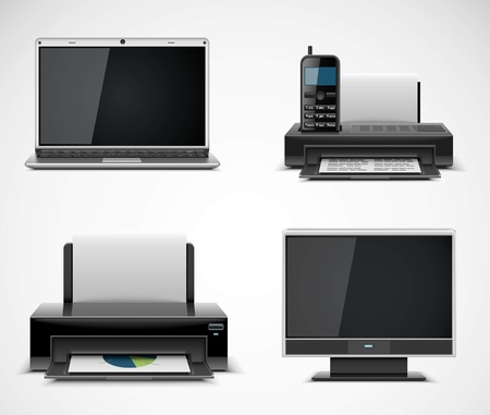 printers: office electronics vector icons xxl