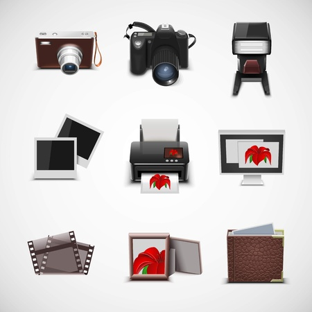 photo camera: photo equipment vector icon set