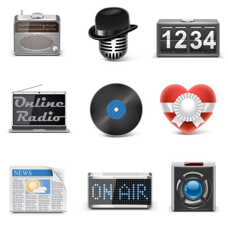autoradio: radiostation vector iconen Stock Illustratie