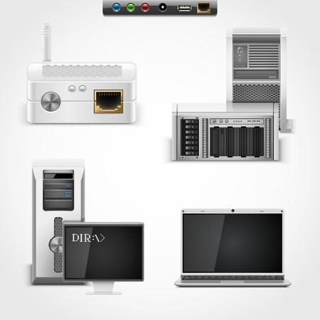 dsl: server e networking icone vettoriali Vettoriali