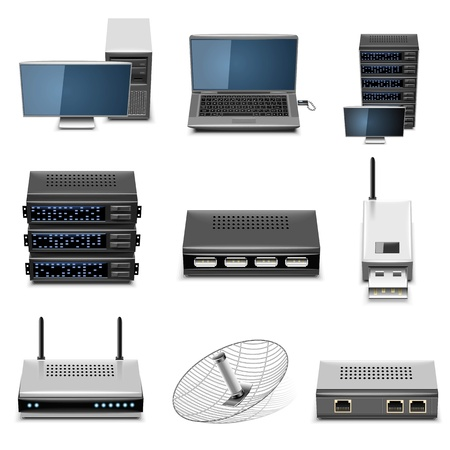 network server: hardware vector icon set