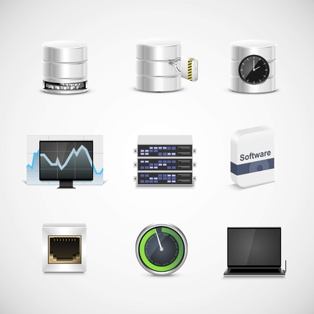 server network: database and server vector icon set