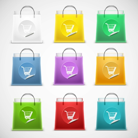 shopping bags: shopping bag vector icon set isolated