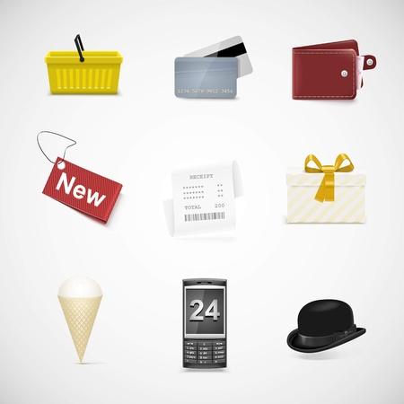 shopping vector icon set Illustration
