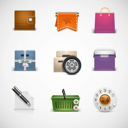 shopping vector icon set Vector