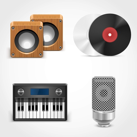 piano roll: sound equipment vector icons