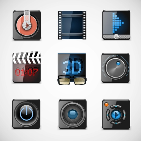 regulators: video vector icons Illustration