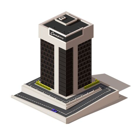 Isometric vector low poly icon or illustration. A building with apartments, a skyscraper, an office building with roads and cars to create city maps.