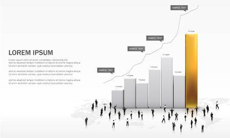3D Vector illustration of metallic chart bars illustration