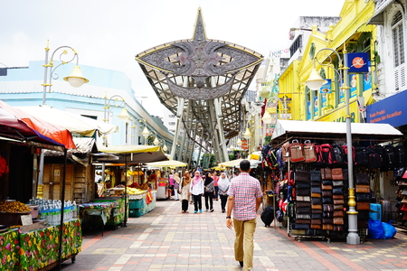 street lamp: People searching and walking near the central market, Kuala Lumpur, Malaysia