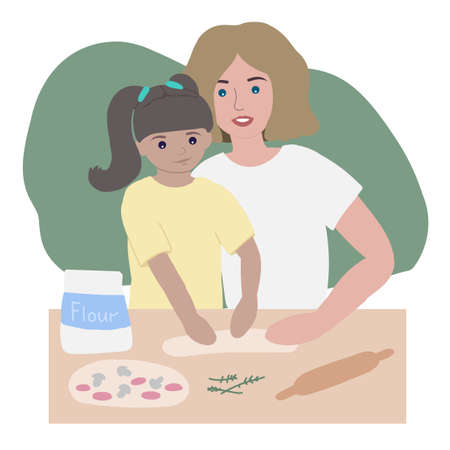 mom and daughter cook pizza together. flat vector illustration