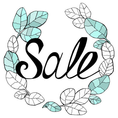 vector wreath of drawn graphic leaves with the inscription sale. suitable for postcards, posts, backgrounds and any design