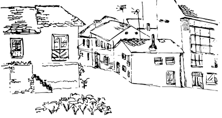 Black and white vector sketch of old spanish village, street view. Isolated illustration