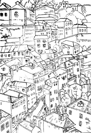Hand drawn old house on the street. Black and white vector sketch of old Porto, street view. Isolated illustration