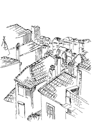Black and white vector sketch of old Porto, street view. Tile roofs. Isolated illustration