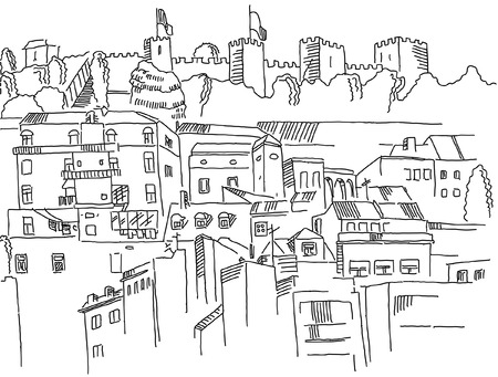 Sketch of Lisbon city view with castle Illusztráció