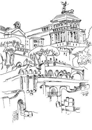 Rome sketch city view  イラスト・ベクター素材