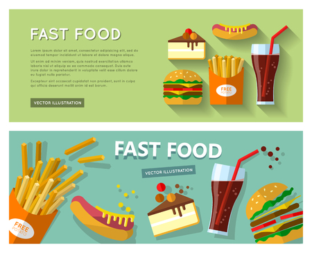 cheesecake: Fast food banners with french fries, hamburger, hot dog, cheesecake and drink in a glass with a straw. Illustration