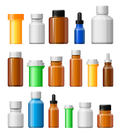 medicine bottles: Medicine bottles set. Empty bottles for drugs, tablets, capsules. Pharmaceutic containers isolated on white background