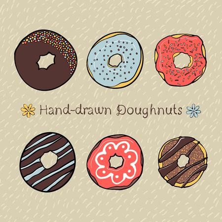 rotund: Set of Hand-drawn Dougnuts with Hand-drawn Seamless Pattern on Background