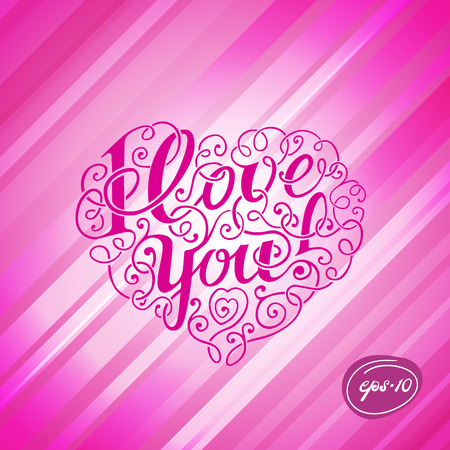 handdraw: Hand-draw Lettering I Love You in the Form of Heart on rose line background Illustration