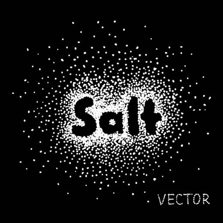 salt: white Salt Sprinkled with the Word Salt on black background Illustration