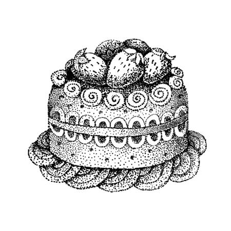 pointillism: Hand-drawn pointillism Cake isolated on white background Illustration