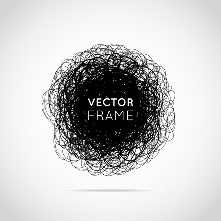 garabatos: Hand-drawn scribble circle. Elements for desicn. Vector illustration.