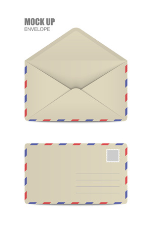 ocher: Ocher Open and close Empy Envelopes. Template for Your Business. Vector illustration Illustration