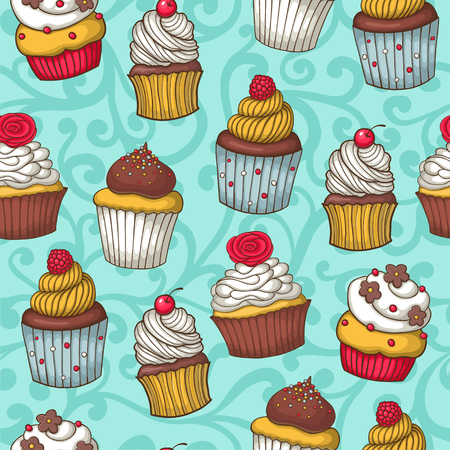 cute wallpaper: Seamless pattern with cupcakes. Hand drawn design. Vector illustration. Illustration