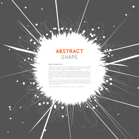 shatter: Abstract space explosion background with chaotic scribbles and round particles. Vector illustration