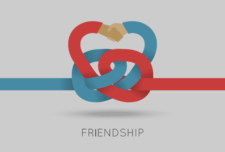 frienship: Frienship concept vector illustration in flat style. Vector illustration of intertwined hands. Business template. Press illustration