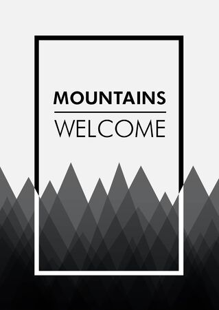 summit: Poster template with mountines. Design for print. Vector illustration. Illustration