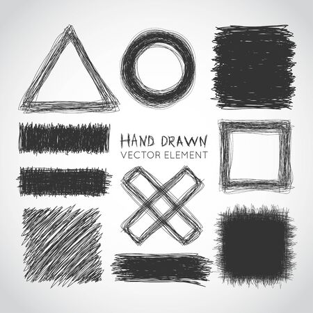 Set of hand drawn elements. Vector illustration