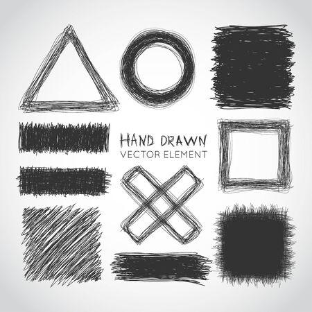 Set of hand drawn elements. Vector illustration Ilustração