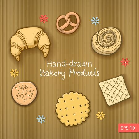 broun: Set of Hand-drawn bakery produks on broun Background Illustration
