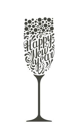 lettrage noir happy new year sous la forme d'un verre de champagne sur fond blanc