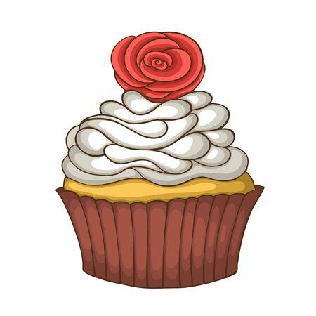 Tiré par la main douce illustration de petit gâteau sur fond blanc