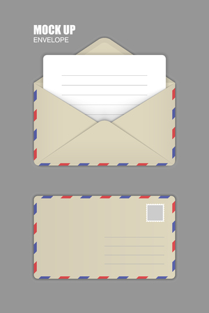 ocher: Ocher Open and close Envelopes with clean Letter. Template for Your Business. Vector illustration Illustration