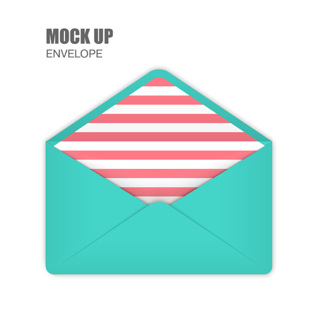 pink stripes: Aquamarine Open Empy Envelopes with pink stripes inside. Template for Your Business. Vector illustration Illustration