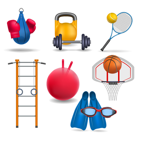 Sports equipment. Gym wall bars, sports rings,  gym bal, dumbbell and barbell, tennis racket and tennis ball, punching bag and boxing gloves, basketball and basketball hoop, flippers and swimming goggles. Sport and gym theme. 向量圖像