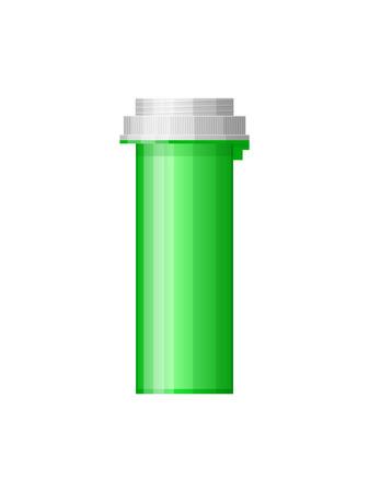 bottle of medicine: Isolated medicine bottle on white background. Empty medicine bottle for drugs, tablets, capsules. Pharmaceutic container. Vector medicine bottle Illustration