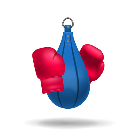 punching: Vector realistic boxing gloves and punching bag. Sport illustration with boxing object. Fight boxer isolated equipment: punching bag and boxing gloves. Vector illustration.