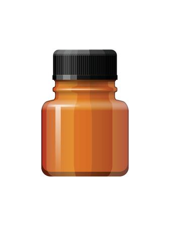 braun: Isolated medicine bottle on white background. Empty medicine bottle for drugs, tablets, capsules. Pharmaceutic container. Vector medicine bottle Illustration