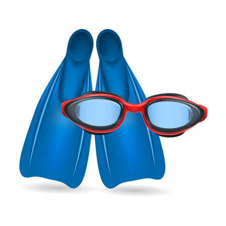 swimming glasses: Blue flippers and red swimming glasses isolated on white background. Vector illustration.