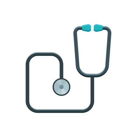 phonendoscope: Stethoscope vector illustration. Phonendoscope icon. Medical and hospital icon. Color icon on white background.