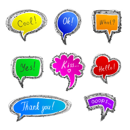 ooops: Hand-drawn style speech bubbles. With different  inscription: Cool!, Ok!, Yes!, What?, Kiss..., Hallo!, Thank you!, Ooops...